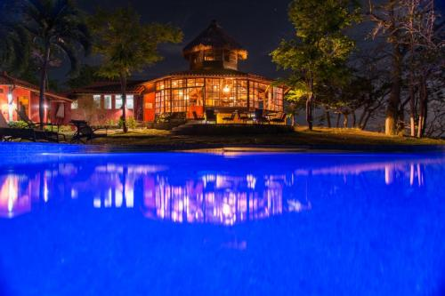 Restaurant pool at night